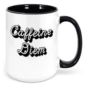 15oz White 99mainstreet Coffee Shop Mug with Black Script Caffeine Diem graphic