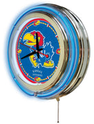 University of Kansas Neon Clock - Jayhawks Logo