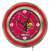University of Louisville Neon Clock - Cardinals Logo
