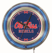 University of Mississippi Neon Clock - Ole Miss Rebels