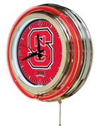 North Carolina State University Neon Clock - Wolfpack Logo