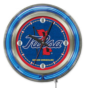 University of Tulsa Neon Clock - Golden Hurricane Logo