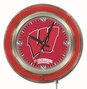 University of Wisconsin Neon Clock - W Logo