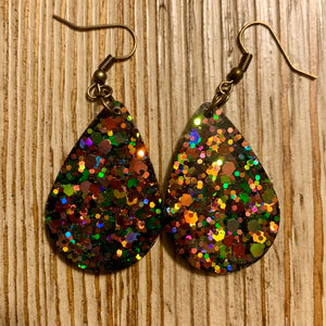 Gold Shifting Glitter Earrings - Small