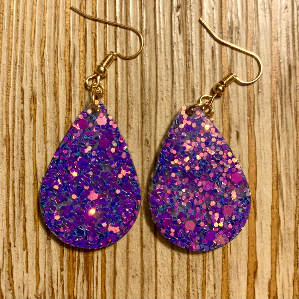 Indigo Shifting Glitter with Blue Shimmer Earrings - Small