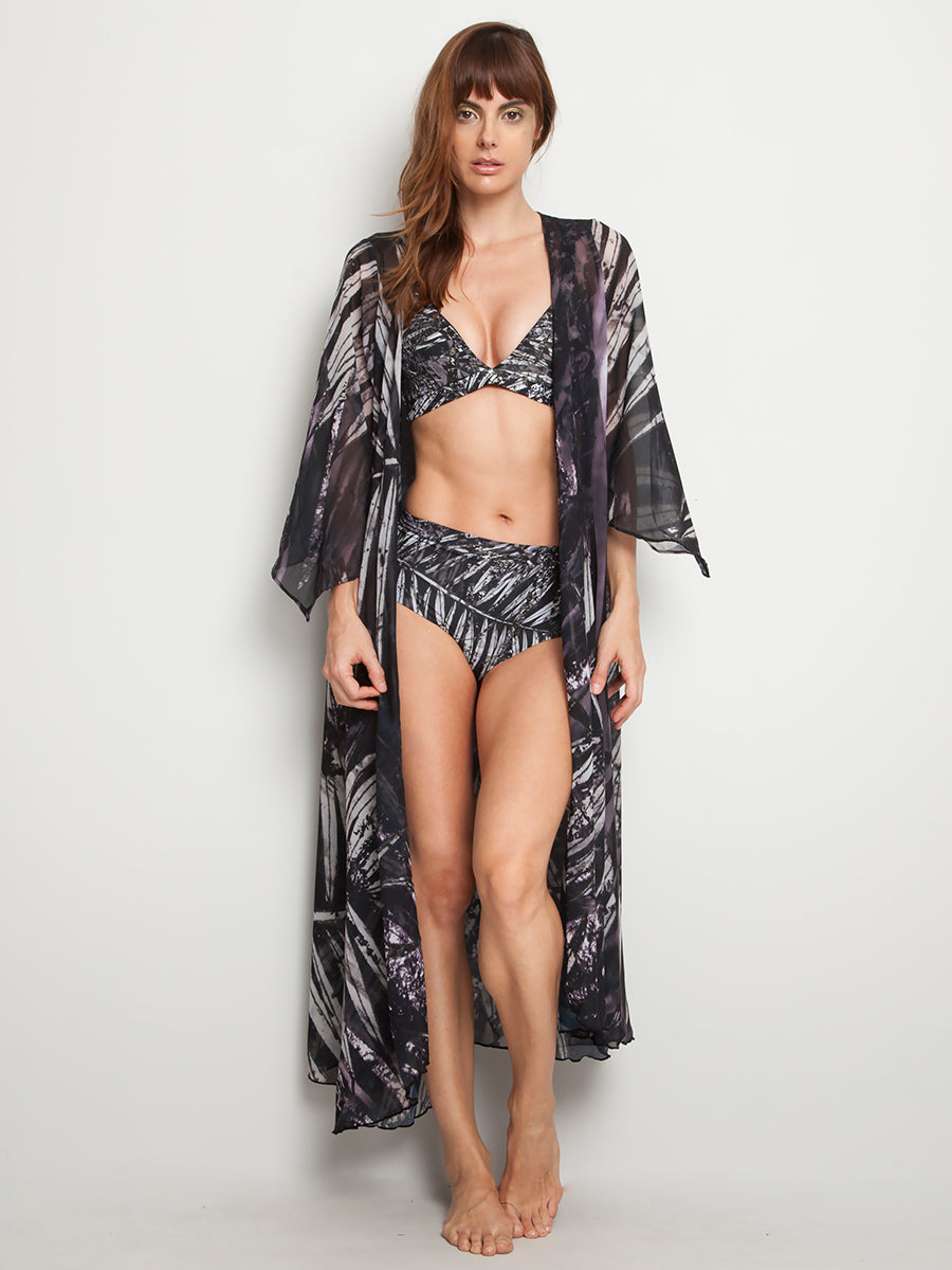 Flowy Kaftan Black Palm Trees