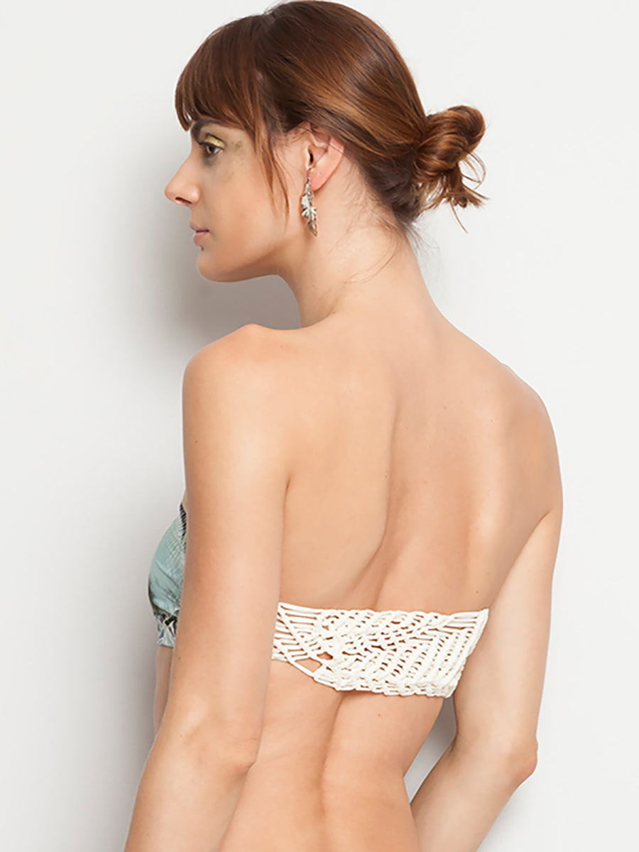Knitted leaves grey ceiba strapless