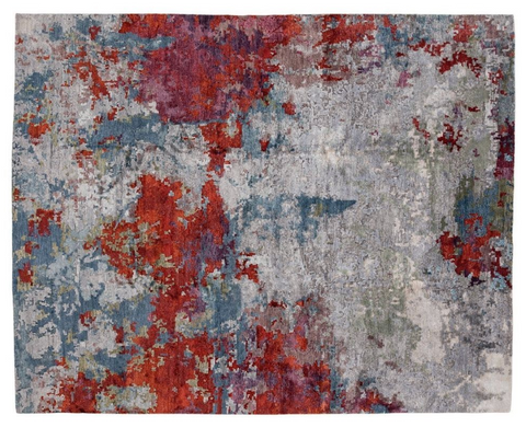 red, blue and grey abstract rug
