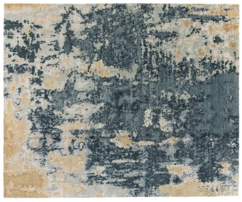 beige, blue, and grey abstract rug