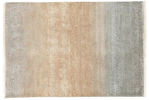 cream, grey, and blue bamboo rug