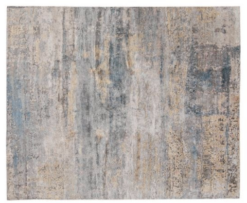 gray and blue bamboo rug