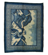 ANTIQUE CHINESE PAO TAO DO, BEIGE/BLUE - GREEN WALL