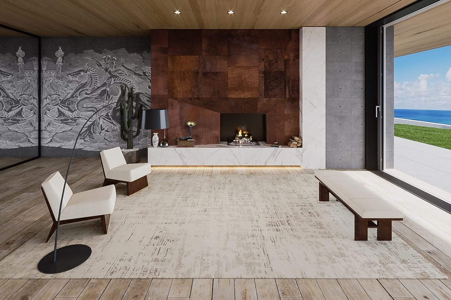 Installation image of Burlap Ivory Gold, a hand knotted rug designed by Barbara Barry for Tufenkian room-image