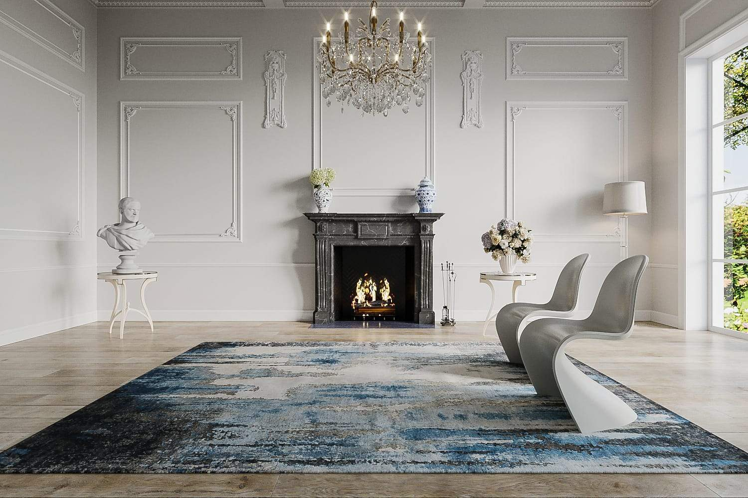 Installation image of Caverns Blue Steel, a hand knotted rug designed by Tufenkian room-image