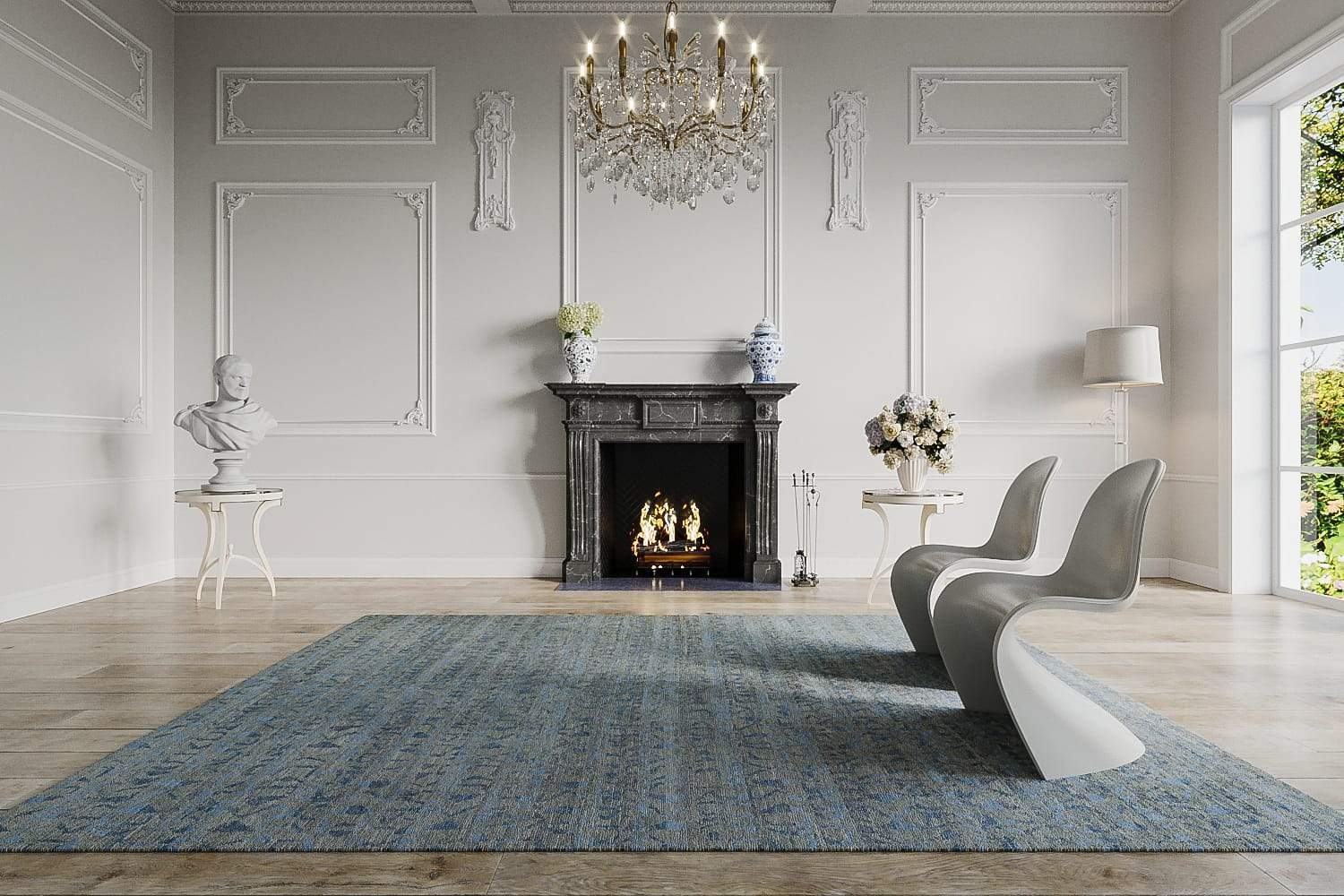 Installation shot of Fast Forward Smokey Blue, a hand knotted rug designed by Tufenkian Artisan Carpets. room-image