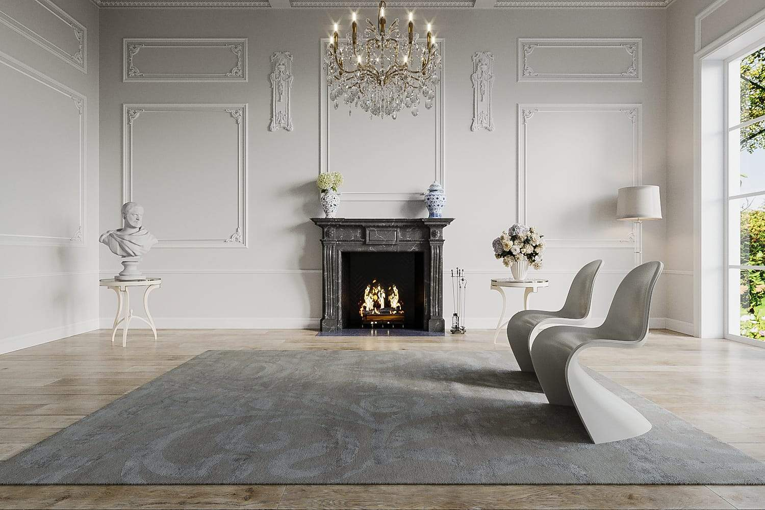 Installation shot of Flourish Smoke, a hand knotted rug designed by Tufenkian Artisan Carpets. room-image