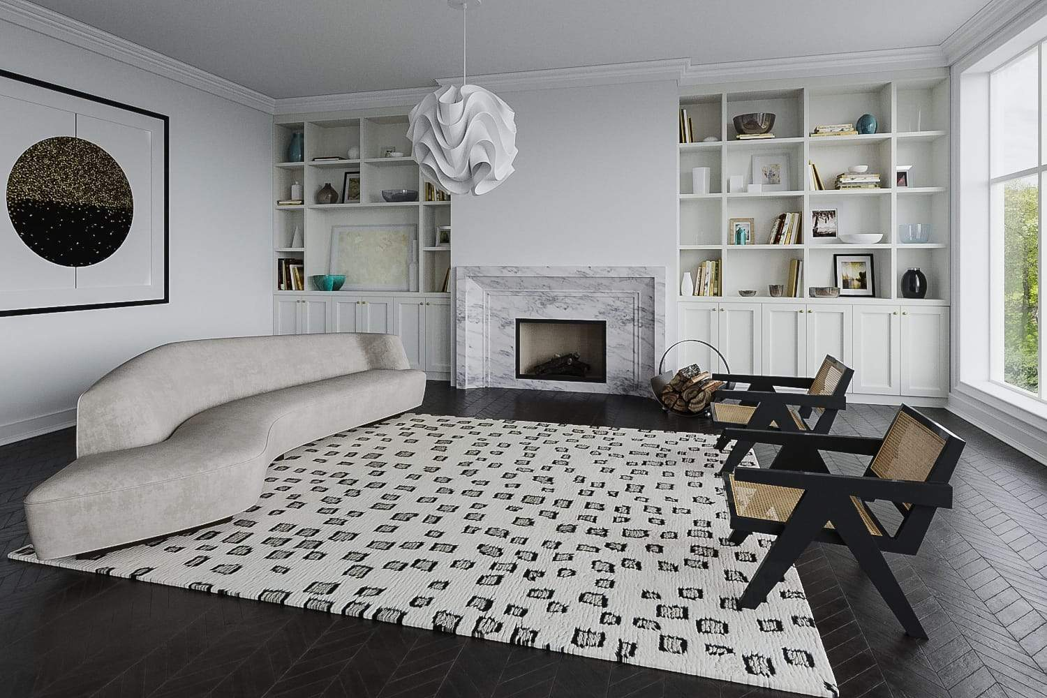 Installation of Higashi White Black, a hand knotted rug designed by Tufenkian Artisan Carpets. room-image