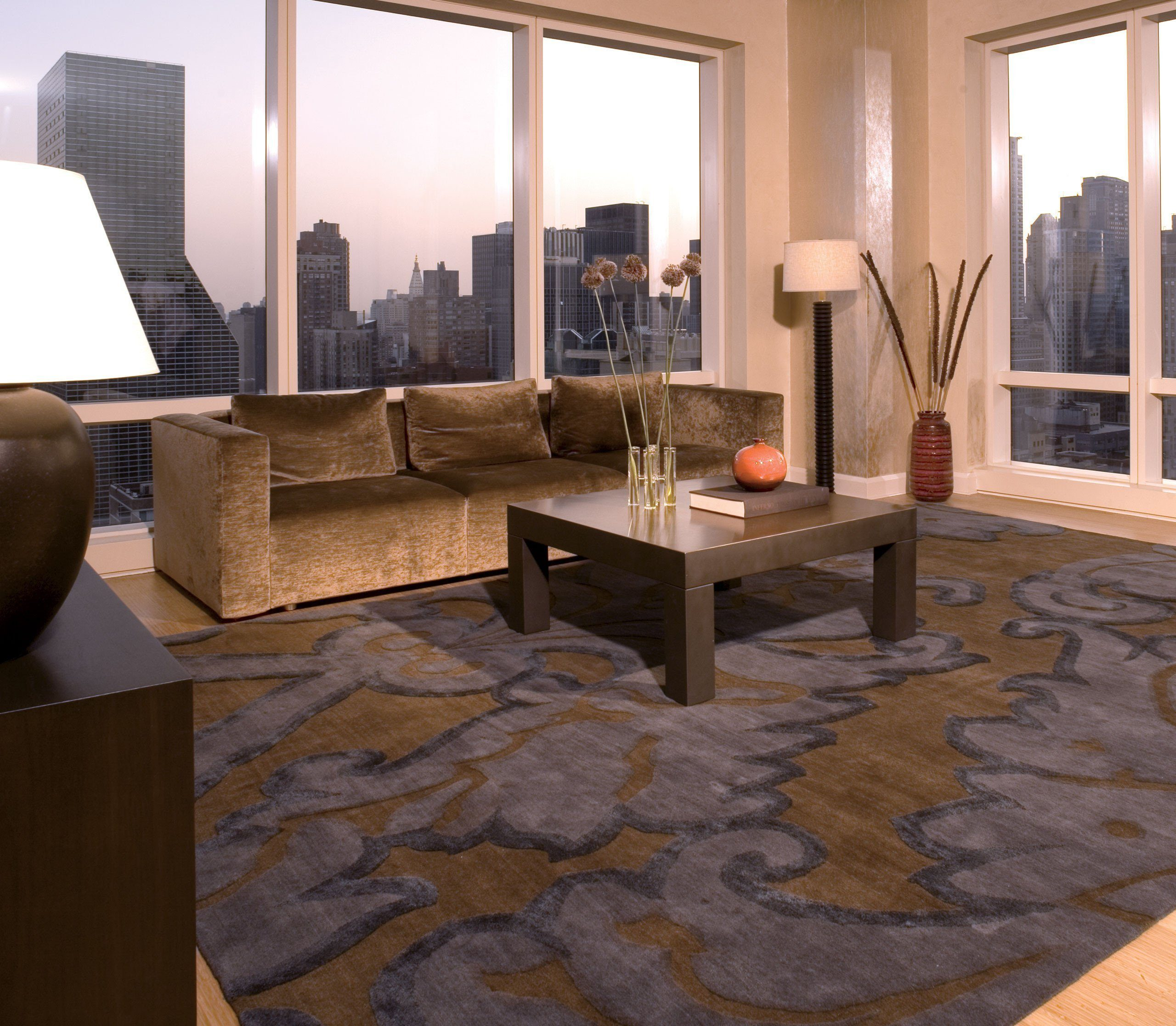 installation image of IMPLIED DAMASK MIDNIGHT is a hand knotted rug by Tufenkian Artisan Carpets room-image