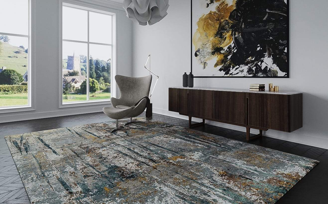 Installation shot of Luminance Rusty Slate, a hand knotted rug designed by Tufenkian Artisan Carpets. room-image