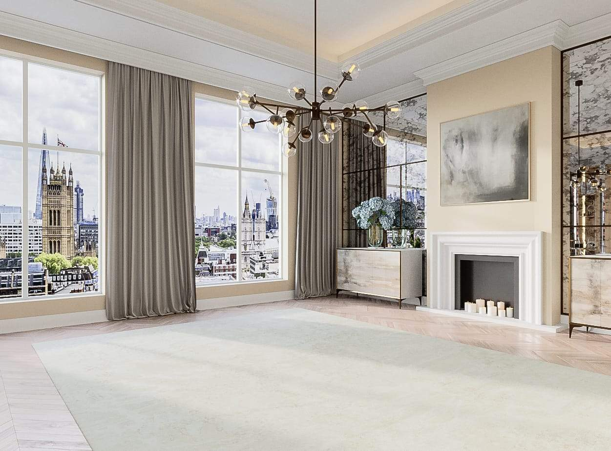 Installation shot of Meadow II Light Linen, a hand knotted rug designed by Tufenkian Artisan Carpets. room-image