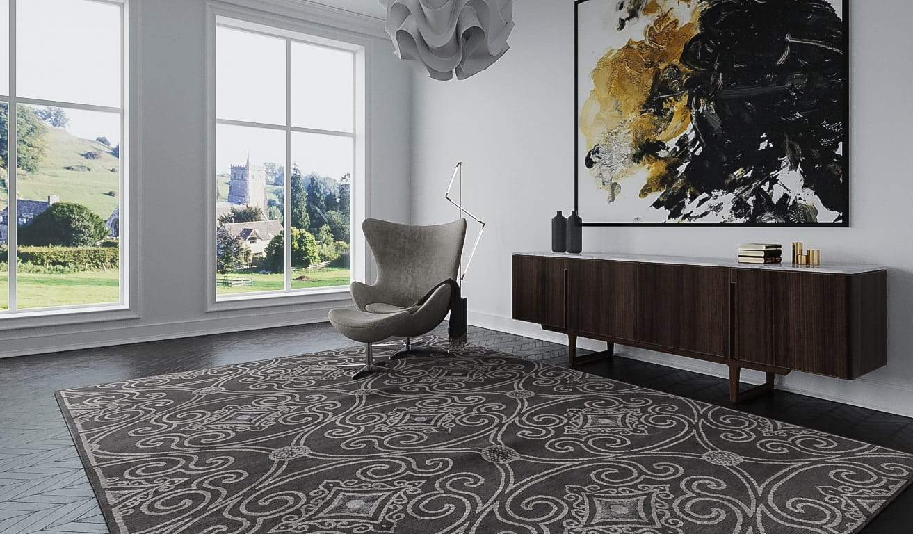 Installation shot of Marquis Pewter, a hand knotted rug designed by Tufenkian Artisan Carpets. room-image