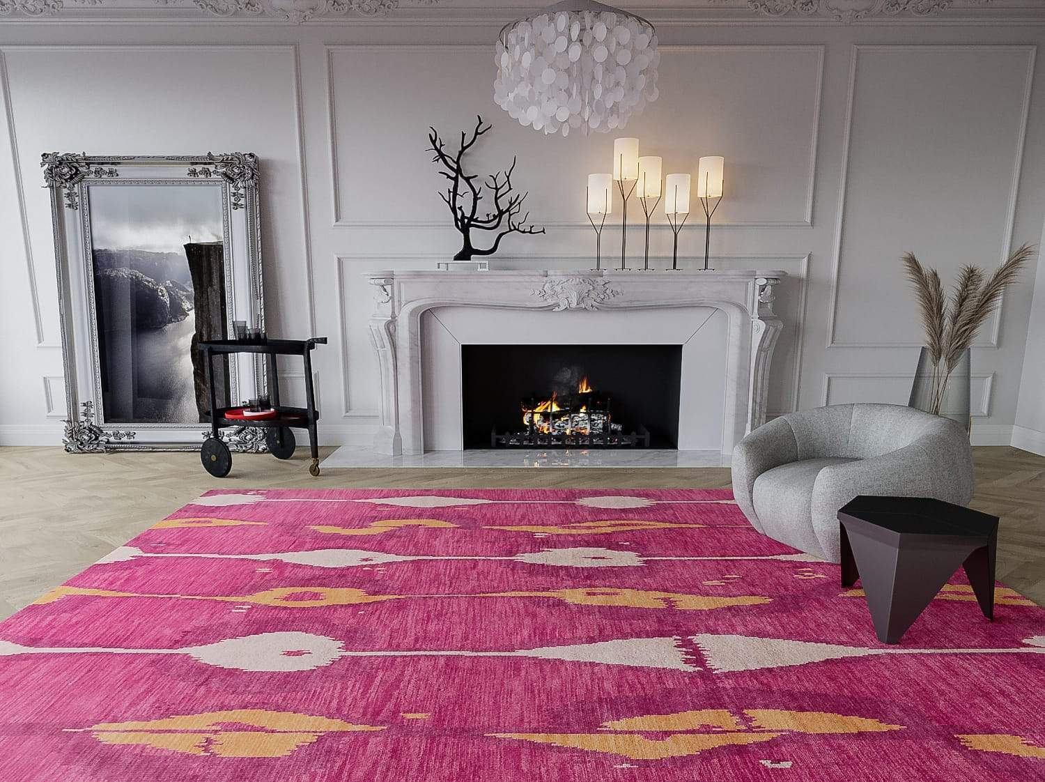 Installation shot of Miri Sunrise, a hand knotted rug designed by Tufenkian Artisan Carpets. room-image
