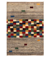 Persian gabbeh is a 3x5 hand knotted rug