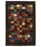 Persian Gabbeh loribaft is a 4x6 hand knotted rug