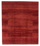 Persian Gabbeh loribaft is a 8x9 hand knotted rug