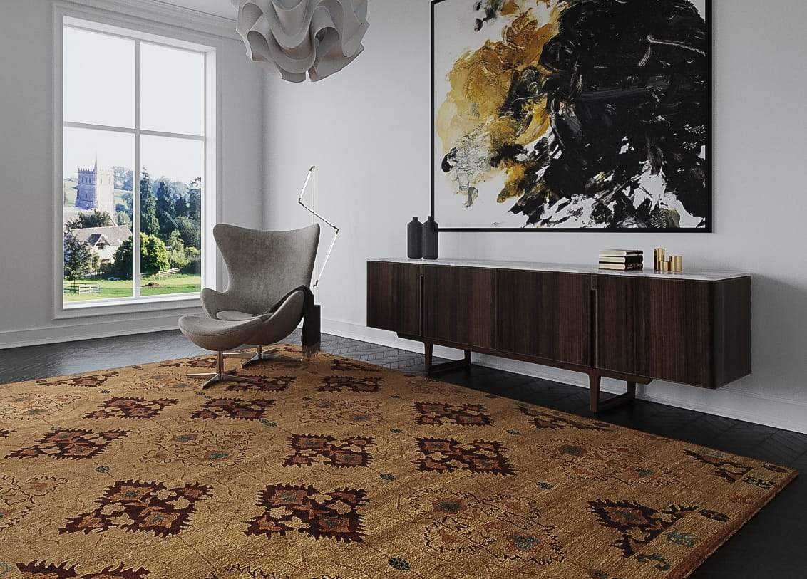 Installation shot of Samkara Butterscotch, a hand knotted rug designed by Tufenkian Artisan Carpets. room-image