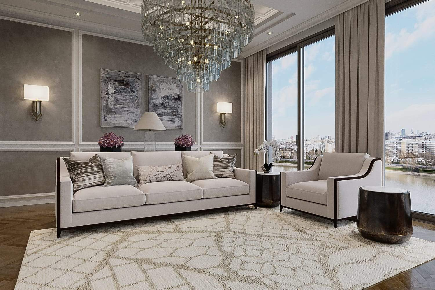 Installation shot of Uroko Tan, a hand knotted rug designed by Tufenkian Artisan Carpets. room-image