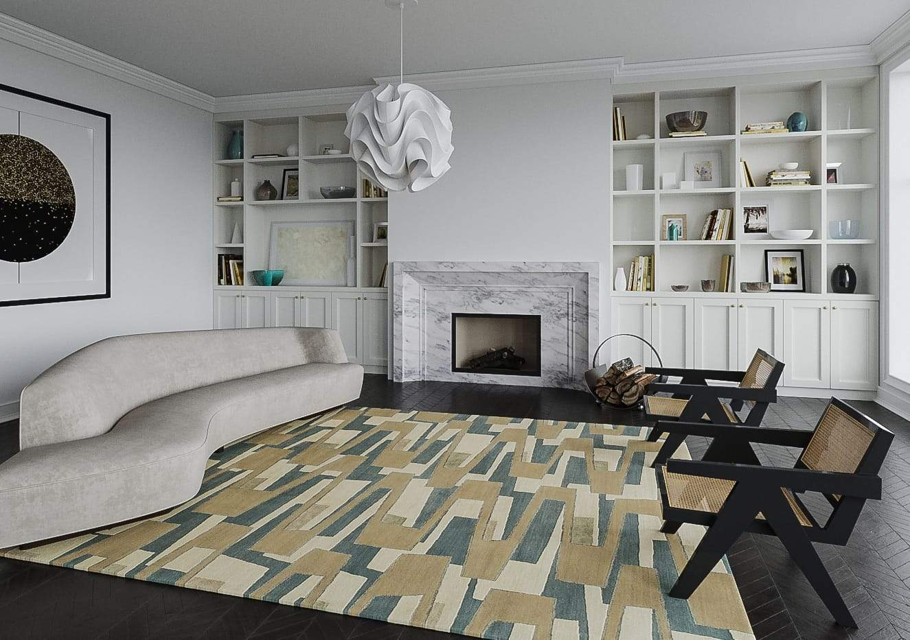 Installation shot of Zigzaggery Quarry, a hand knotted rug designed by Tufenkian Artisan Carpets. room-image