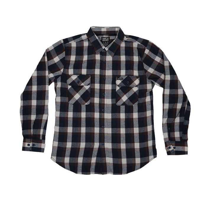 Brewer Flannel - Navy Maroon