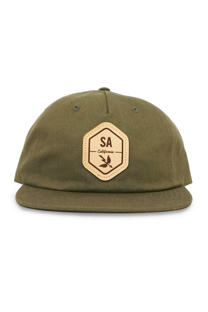 Leather Patch Hex Hat - Olive Green