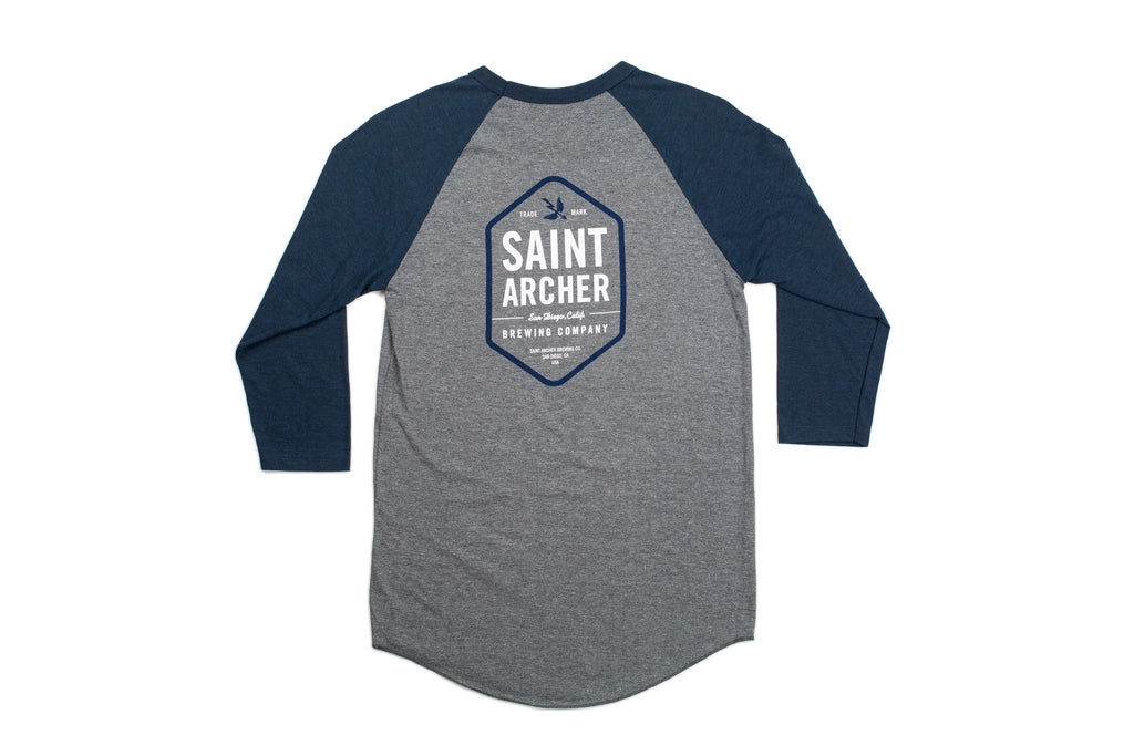 Hex 3/4 Sleeve Baseball Tee - Grey/Navy