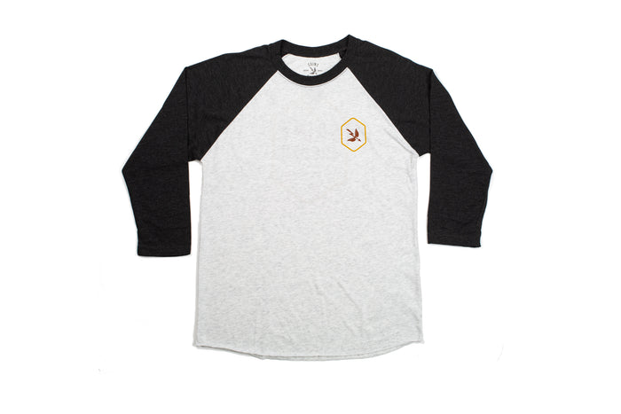 Hex 3/4 Sleeve Baseball Tee - Heather/Black