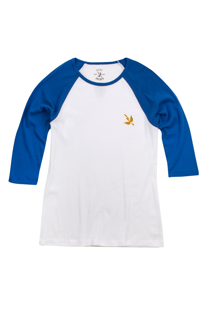 Women's Arrow 3/4 Sleeve Baseball Tee - White/Navy