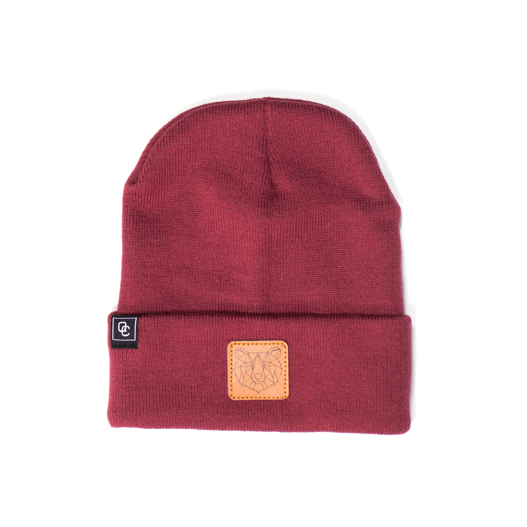 Bear Beanie Burgundy Red
