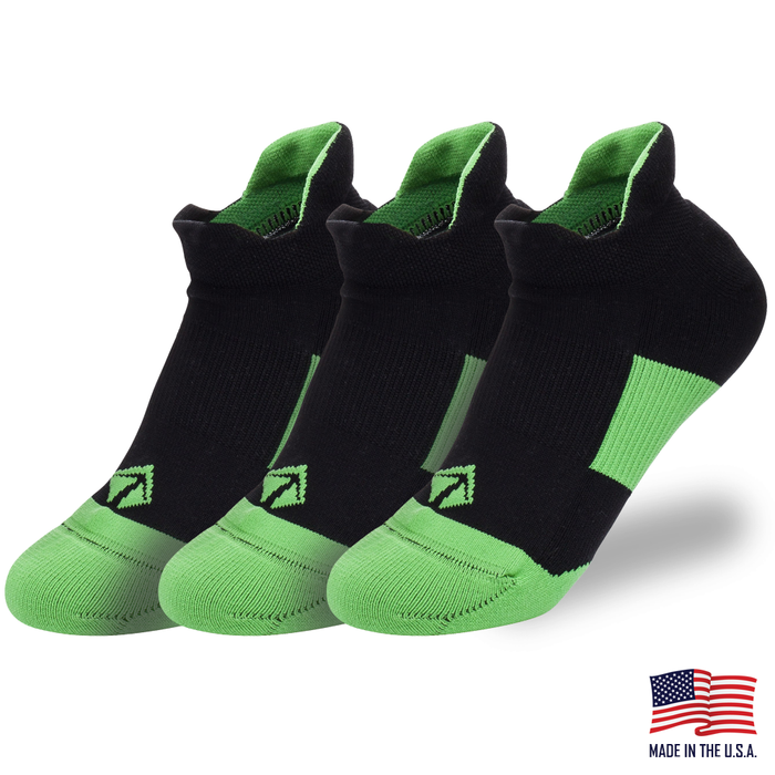 Tech-Lite Running Sock - Black & Green (3/pk)