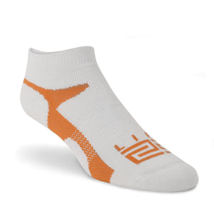 Merino Wool Athletic Peds  - White & Orange - lift23