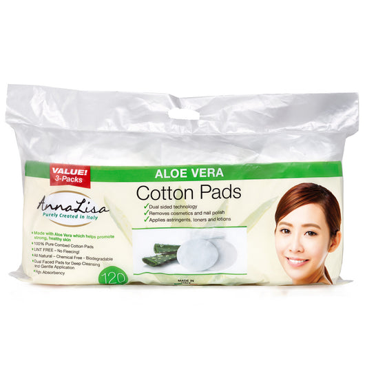 Aloe Vera LARGE Italian Cotton Pads - 120 Count - Anna Lisa Cotton