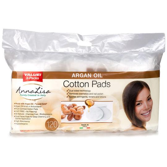 Argan Oil LARGE Italian Cotton Pads, 120 Count - Anna Lisa Cotton