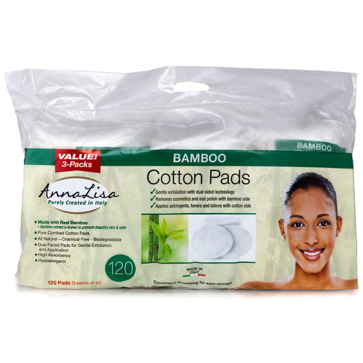 Bamboo LARGE Italian Cotton Pads, 120 Count - Anna Lisa Cotton
