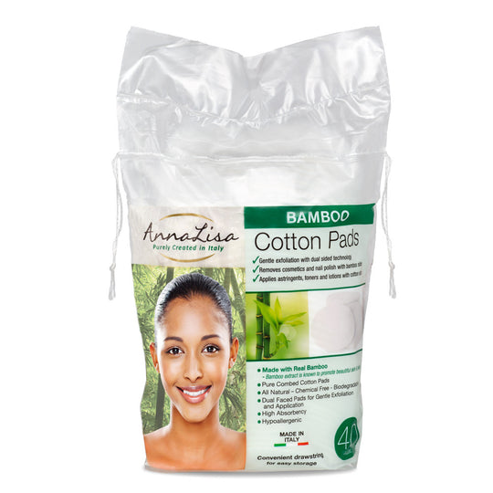 Bamboo LARGE Italian Cotton Pads - 40 Count - Anna Lisa Cotton