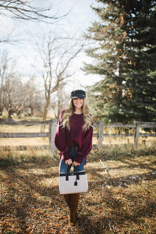 Maroon Tie Sweater - Meadow & Magnolias