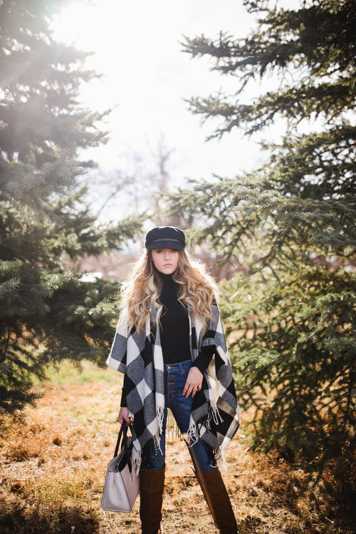 Buffalo Check Poncho - Meadow & Magnolias