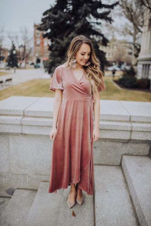 Pink Velvet Wrap Dress - Meadow & Magnolias