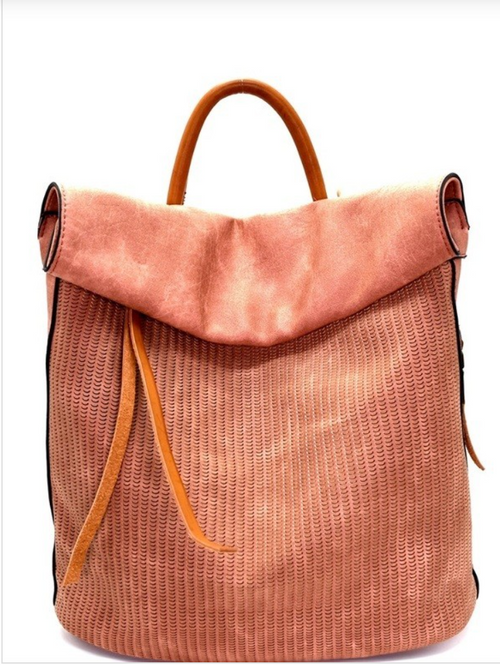 Rea Faux Leather Backpack - BLUSH - Meadow & Magnolias