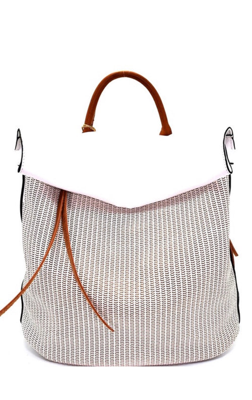 Rea Faux Leather Backpack - WHITE - Meadow & Magnolias