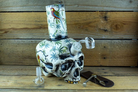 Birds and Buds Skull Waterpipe